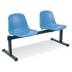 Podwójne krzesło korytarzowe z plastikowym siedziskiem