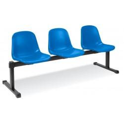 Potrójne krzesło Beta z plastikowym siedziskiem